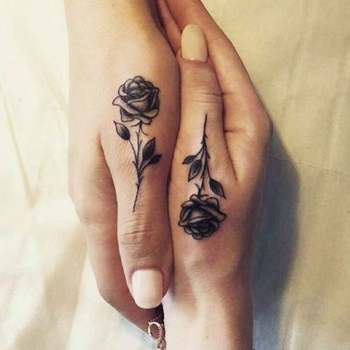 small friendship tattoos roses on fingers