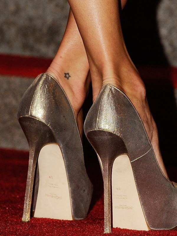 fashion star tattoo on ankle