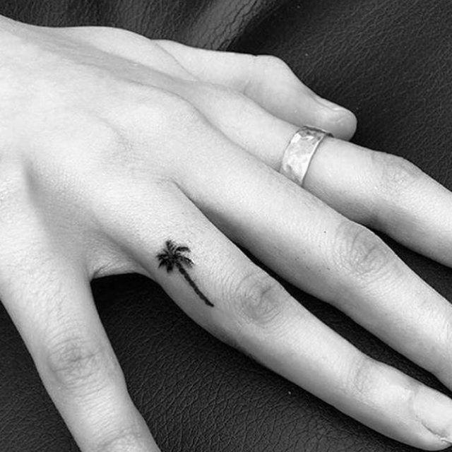 small palm tree finger tattoos