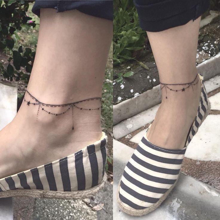 small bracelet ankle tattoos for women
