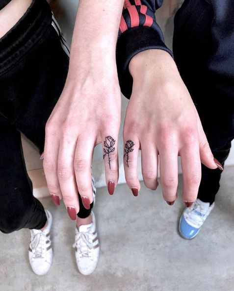 small roses finger tattoos for best friends