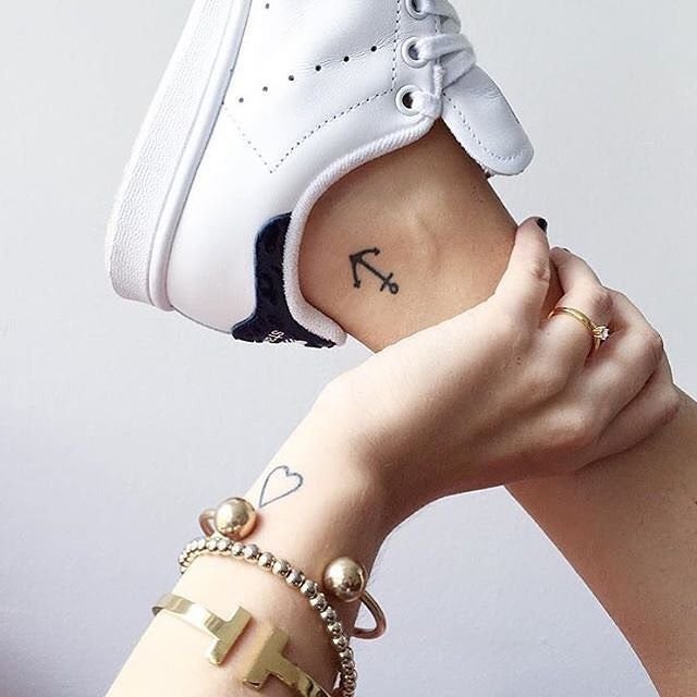 anchor tattoo on ankle and hearth tattoo on wrist, beautiful ladies tattoos