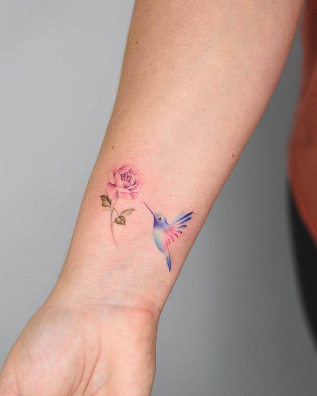 Little hummingbird tattoo on wrist