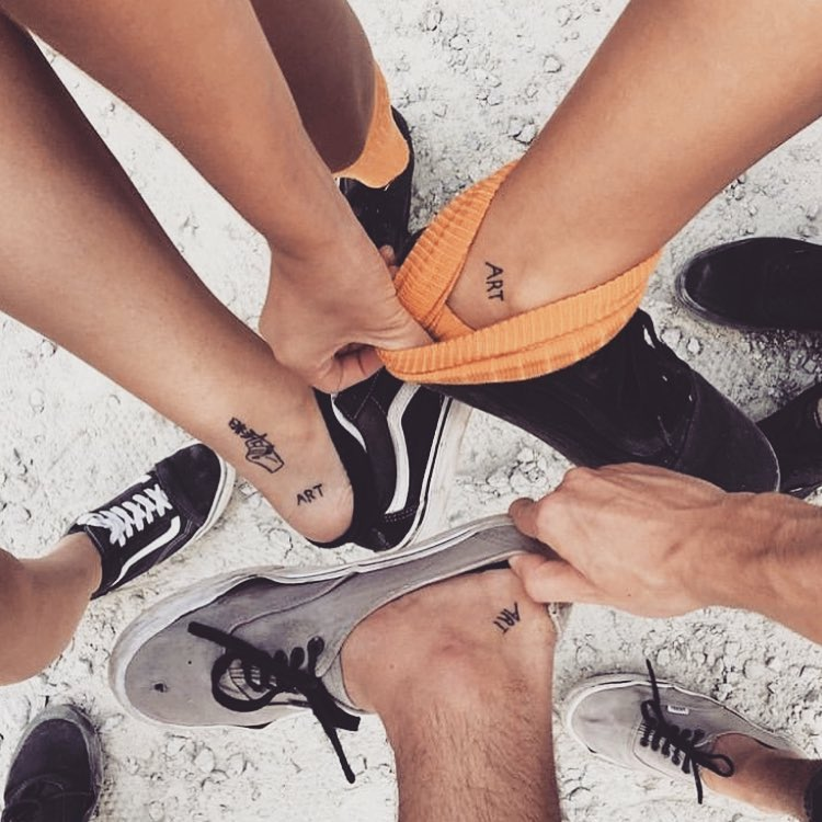 A shared passion inked in this friendship tattoo for 3