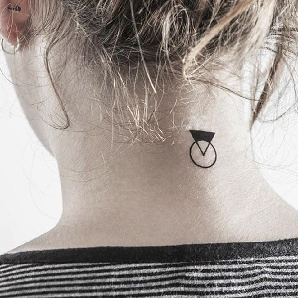 fine circle tattoo on neck