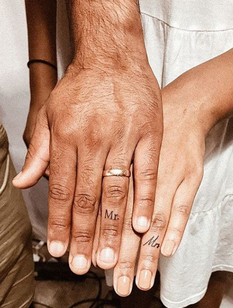mr and mrs finger tattoo by lafemmetattoohouse
