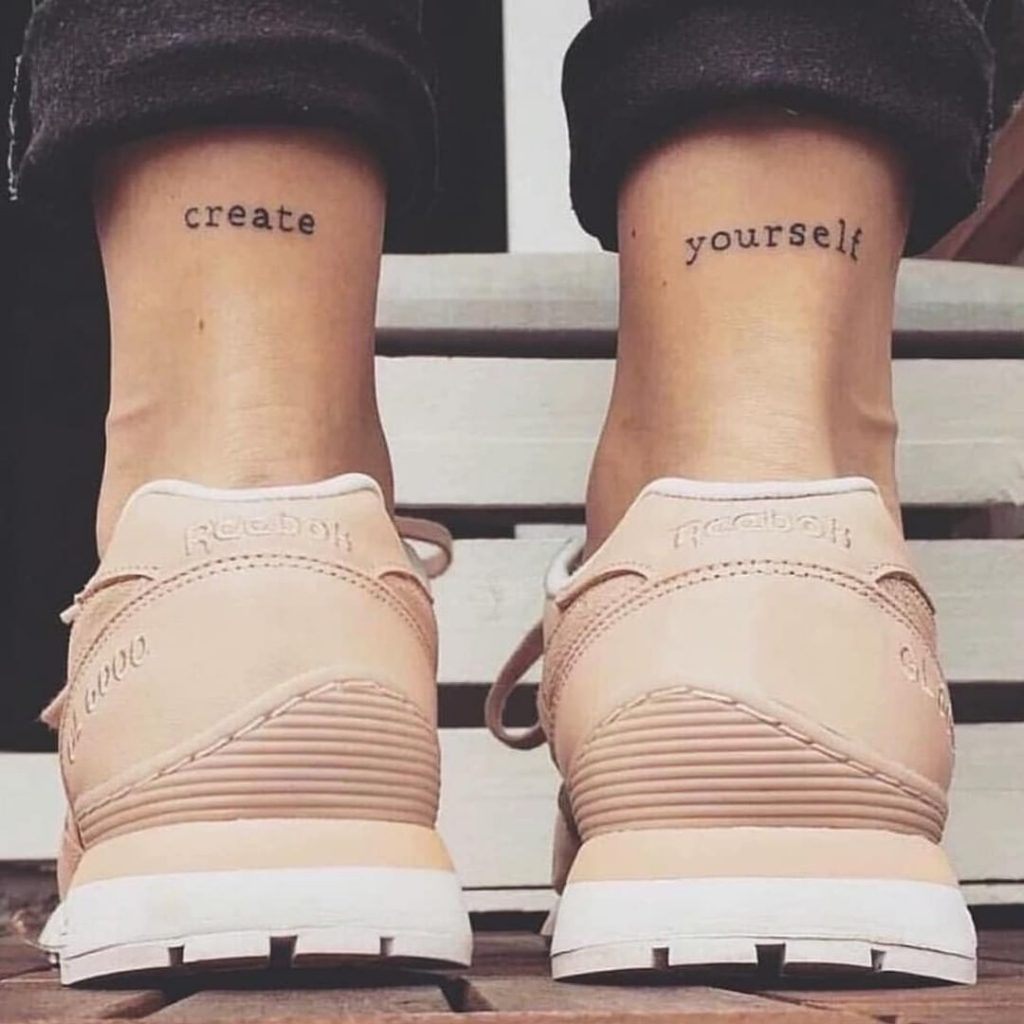 create yourself on ankle tattoo