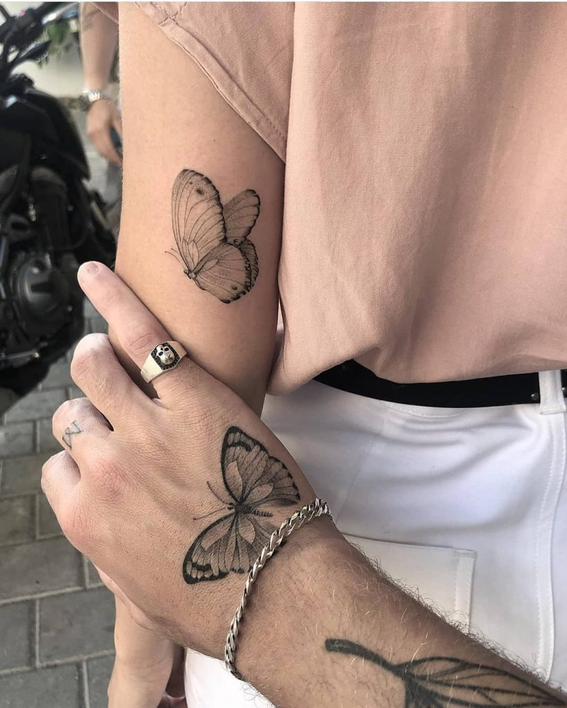 matching butterflies tattoos for couples