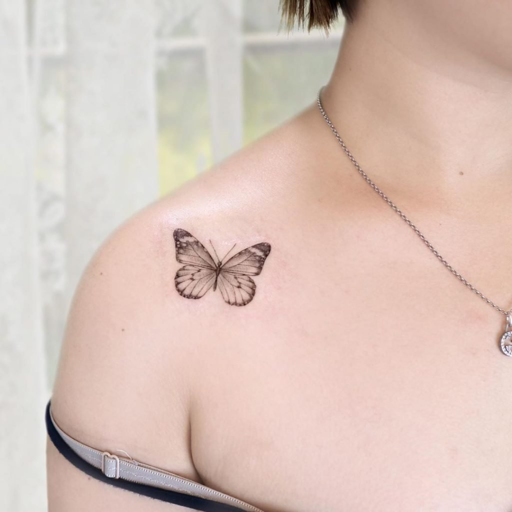 perfect mini butterfly on shoulder tattoo