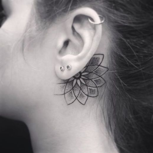 behind the ear lotus flower mandala tattoo