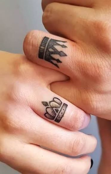 crown wedding ring tattoos king and queen
