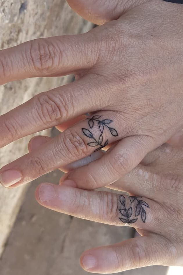 sweet wedding ring tattoos ideas